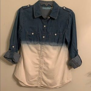 Aina Be Women's Blue Jean shirt small Ombre